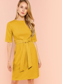 Zip Back Self Belted Dress