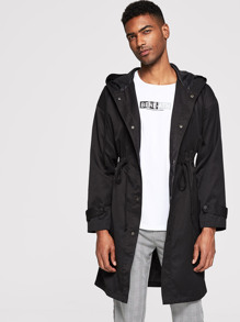Men Button Up Drawstring Hooded Coat