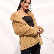 Image of Notch Collar Open Front Teddy Coat