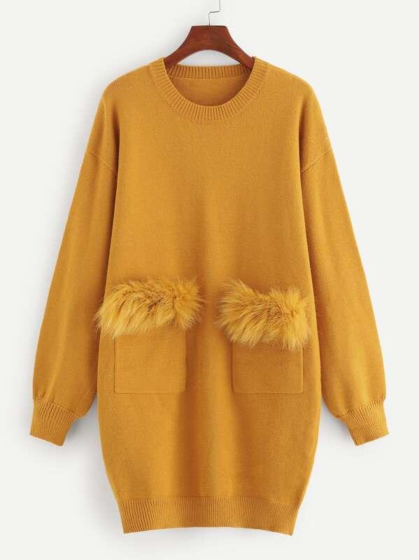145bf461150 Robe pull en tricot avec poches en fourrure synthétique