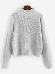 Stand Collar Drop Shoulder Sweater