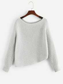 Solid Asymmetrical Hem Sweater