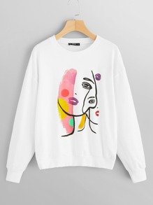 Figure Print Drop Shoulder Sweatshirt