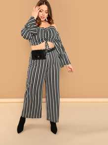 Plus Off Shoulder Striped Crop Top and Palazzo Pants Set