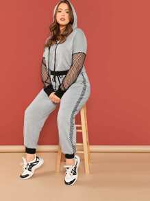 Plus Fishnet Panel Heather Grey Hoodie & Pants Set
