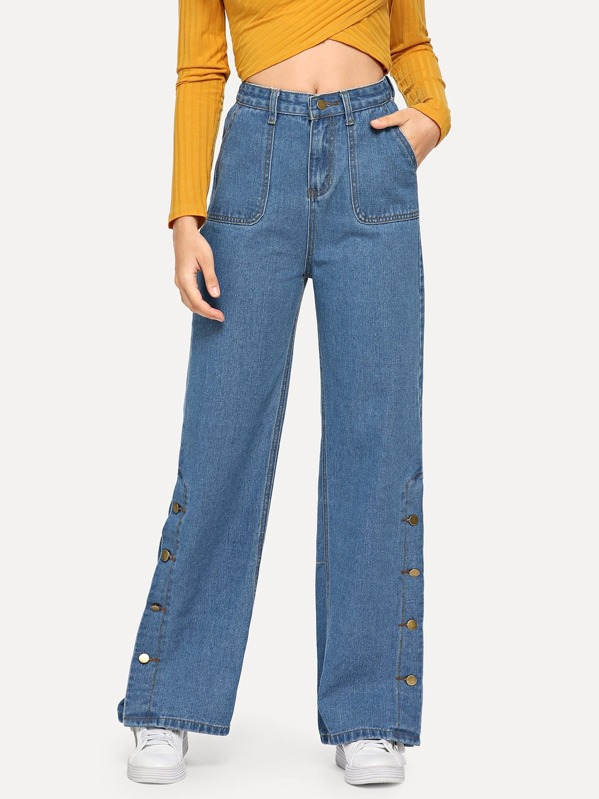the best attitude 10f49 2692b Slant Pocket Snap Button Side Palazzo Jeans
