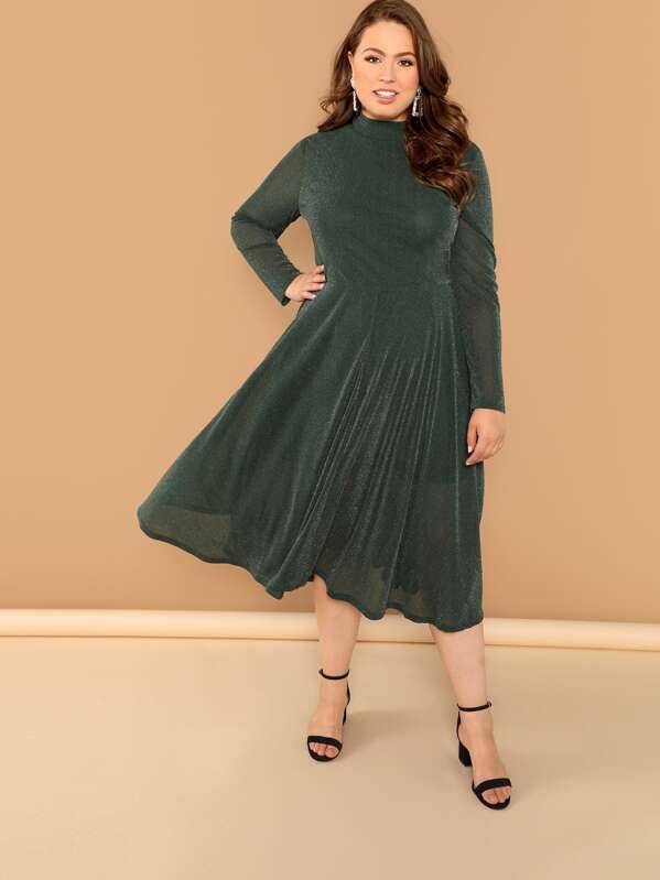 fcfb42bc2e Plus Mock-Neck Glitter Dress | SHEIN