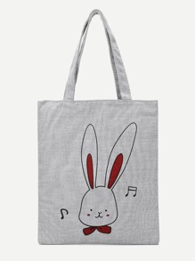 Rabbit Print Canvas Tote Bag