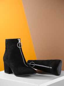 Faux Suede Pointed Toe Chunky Heel Booties