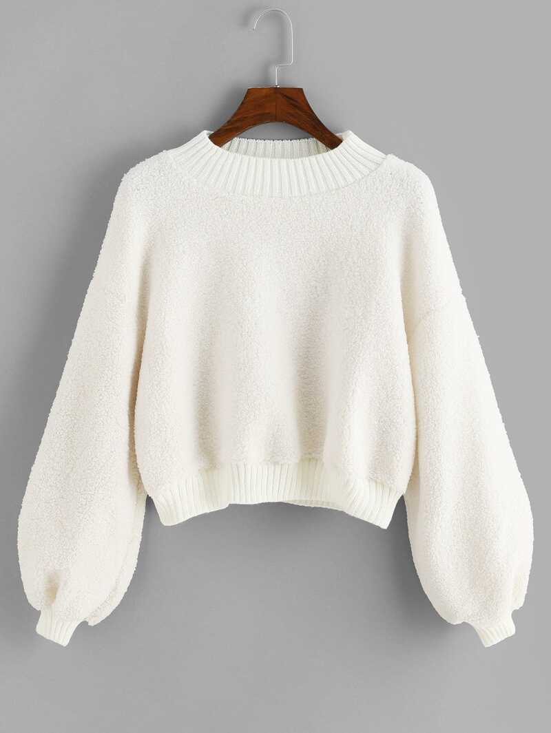 Bishop Sleeve Solid Sweater by Romwe