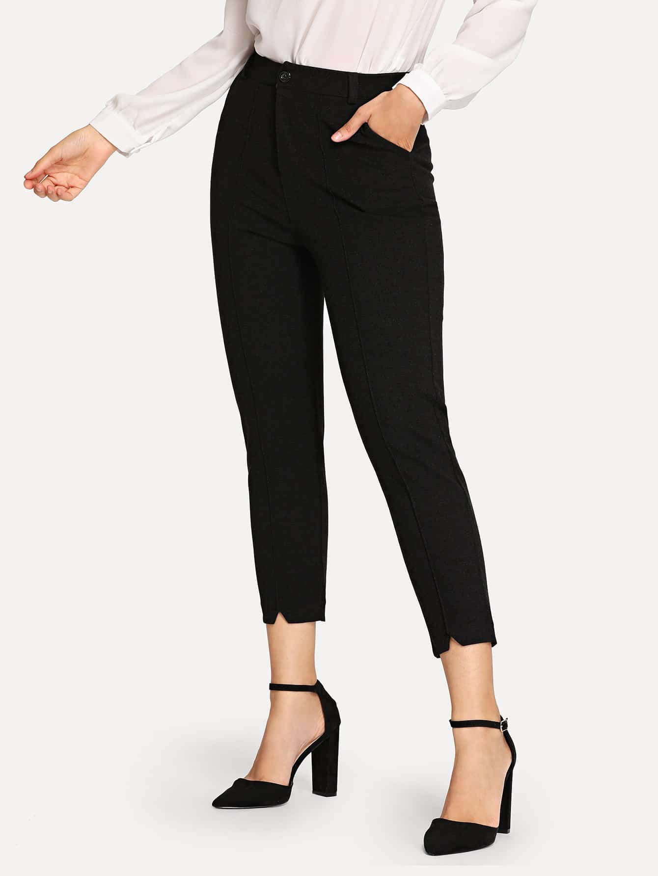 Asymmetrical Hem Solid Pants Asymmetrical Hem Solid Pants