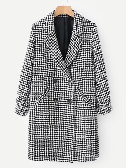 Double Breasted Houndstooth Coat