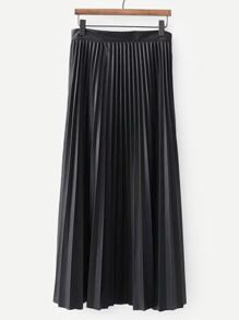 Solid Pleated PU Skirt