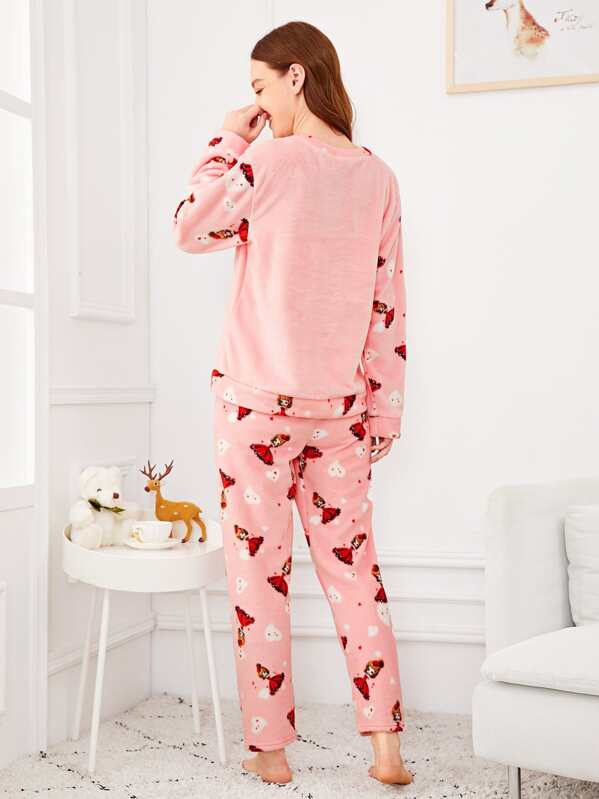 6e029db872 Cartoon Girl Print Plush Pajama Set | SHEIN IN