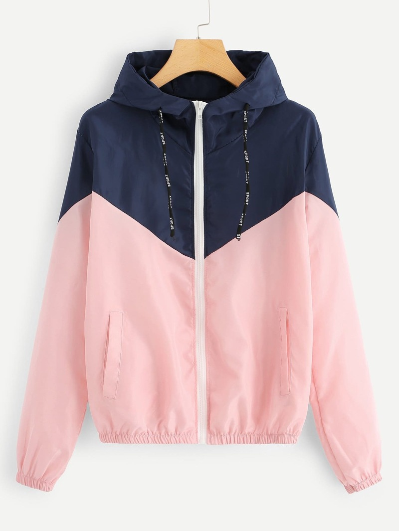 Cut And Sew Zip Up Hooded Jacket by Romwe