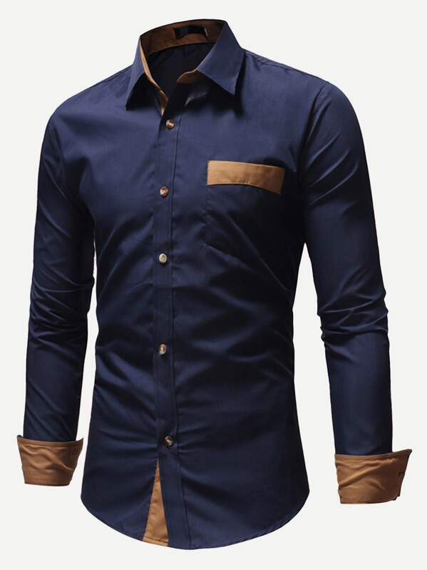 563be6577a Men Color Block Pocket Detail Shirt   SHEIN