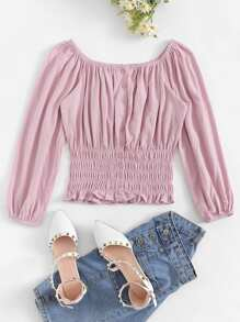 Off The Shoulder Single-breasted Blouse