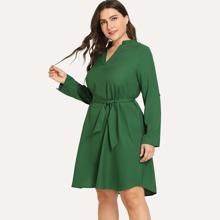 SHEIN   Plus Solid Self-Tie V-Neck Dress   Goxip