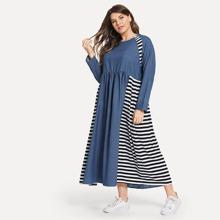 Image of Plus Striped Panel Denim Dress