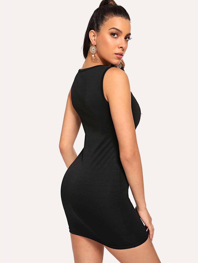 Cremallera Vestido Entallado Negro Vestido Cremallera CxBoedrW