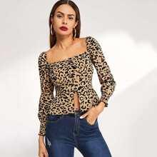 SHEIN   Leopard Print Square-Neck Blouse   Goxip