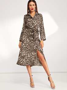 Self Tie Leopard Print Dress
