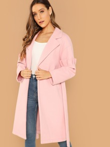 Ruffle Trim Split Hem Self Belted Coat