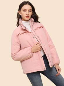 Frill Detail Zipper Quilted Puffer Coat