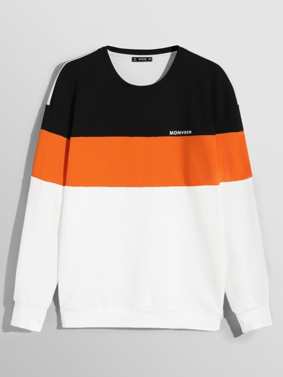 Men Crew Neck Color Block Pullover