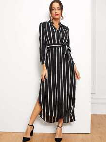 Striped Belted Asymmetric Hem Dress