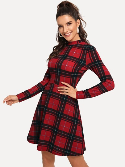 Mock-Neck Fit and Flare Plaid Dress
