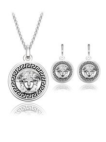 Figure Engraved Round Necklace & Earrings