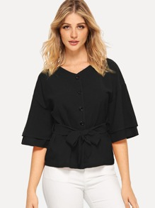 Tiered Sleeve Buttoned Belted Blouse