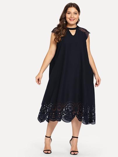 ea1e0722cef14 Siyah Kontrast Dantel Sade Gündelik Artı Beden Elbiseler   SHEIN TR