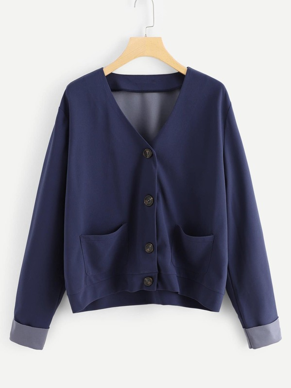 Plus Pocket Front Button Up Coat by Shein