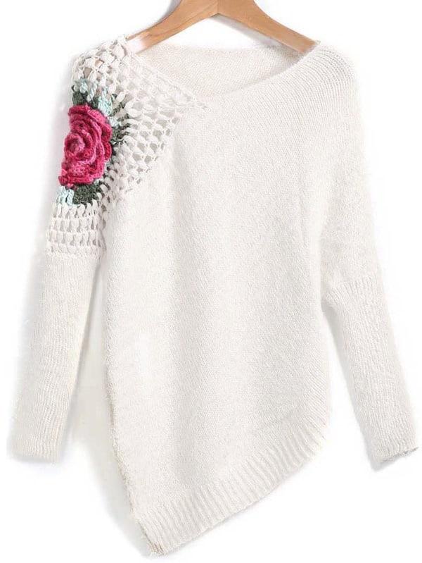 da5b38e00a Apricot Round Neck Floral Crochet Loose Jumper | SHEIN UK