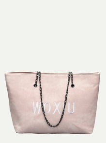 Letter Embroidered Chain Shoulder Bag