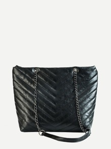 Chevron Detail Chain Shoulder Bag