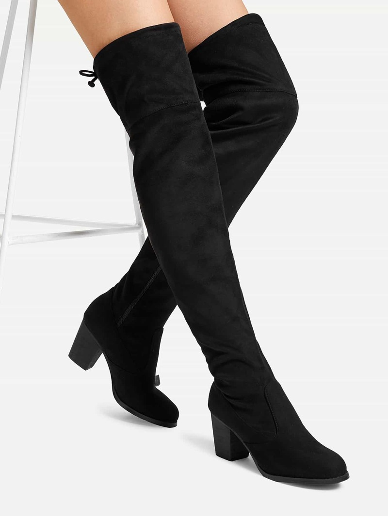 2fef12b0ffc Lace Up Back Thigh High Boots