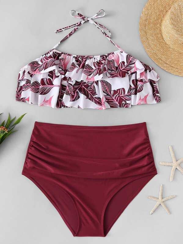 0e43e5d33f Plus Tropical Flounce Top With High Waist Bikini | SHEIN