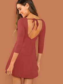 Tie Open Back Fit and Flare Dress