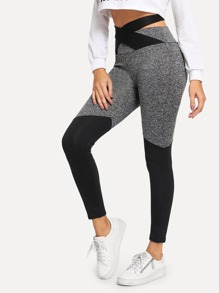 Cut And Sew Criss Cross Knot Back Leggings