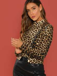 0051489d831f Asymmetrical Zipper Leopard Moto Jacket | SHEIN