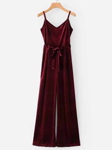 Self Tie Velvet Cami Jumpsuit