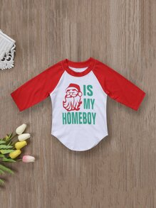 Toddler Boys Christmas & Letter Print Curved Hem Tee