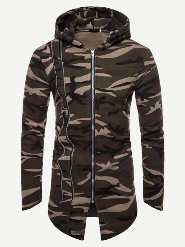 6ac6be70759ab Men Camouflage Print Zip Up Hoodie | SHEIN