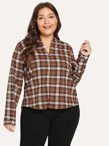 Plus V-Neck Plaid Blouse