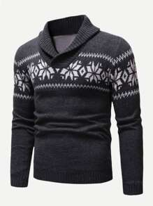 Men Christmas Snowflake Print Jumper