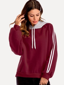 Drawstring Striped Panel Hooded Sweatshirt