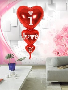 Letter Print Heart Balloon 1pc
